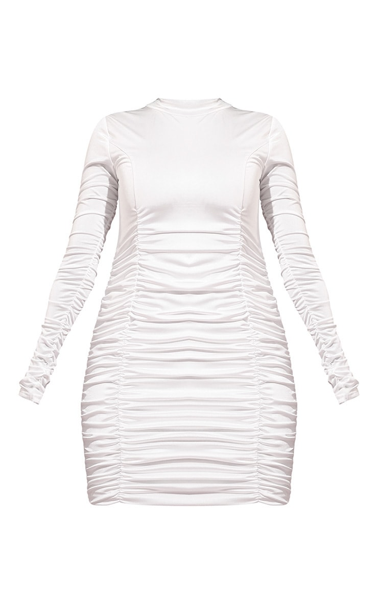 Cream Slinky Ruched High Neck Bodycon Dress 3