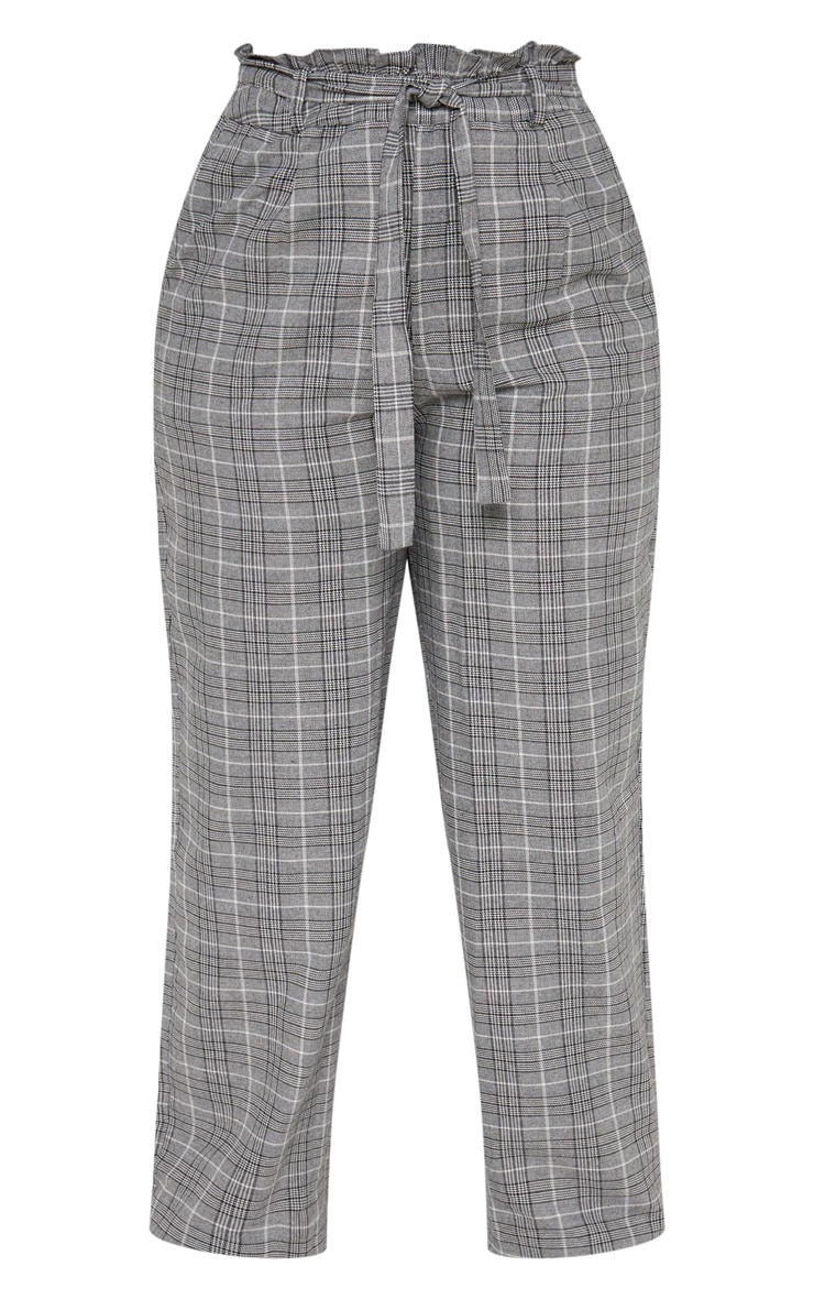 Plus Grey Paperbag Checked  Wide Leg Pants 3