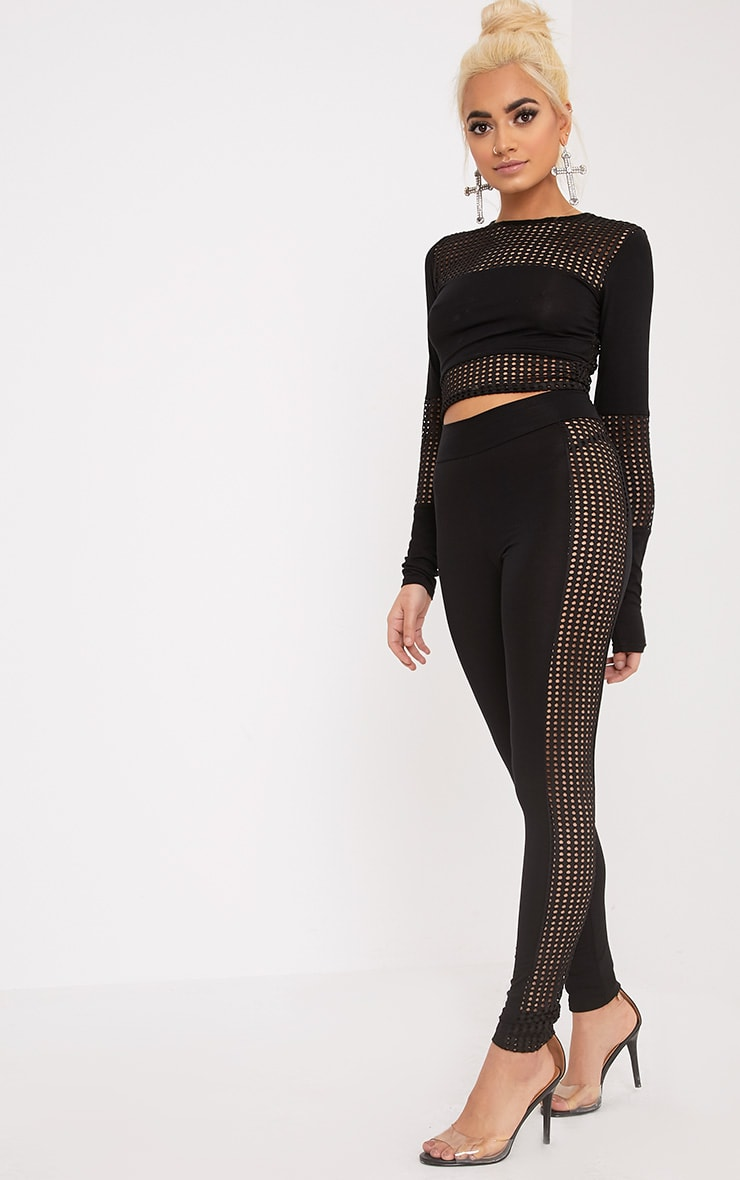 Wanita Black Fishnet Panel Leggings 1