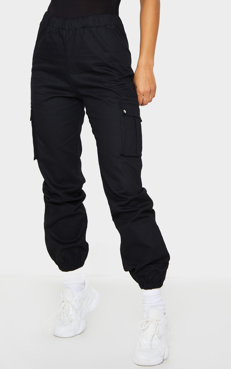 Black Pocket Detail Cargo Trousers 2