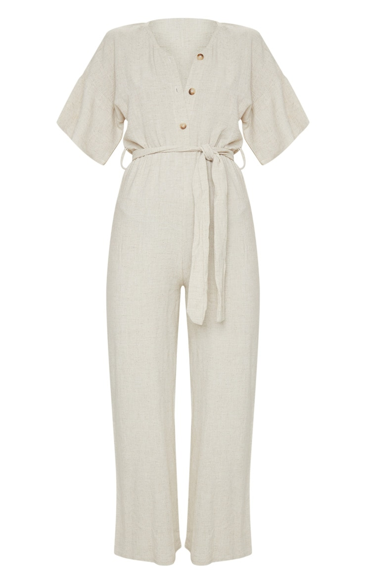 Stone Woven Button Detail Tie Waist Jumpsuit 5