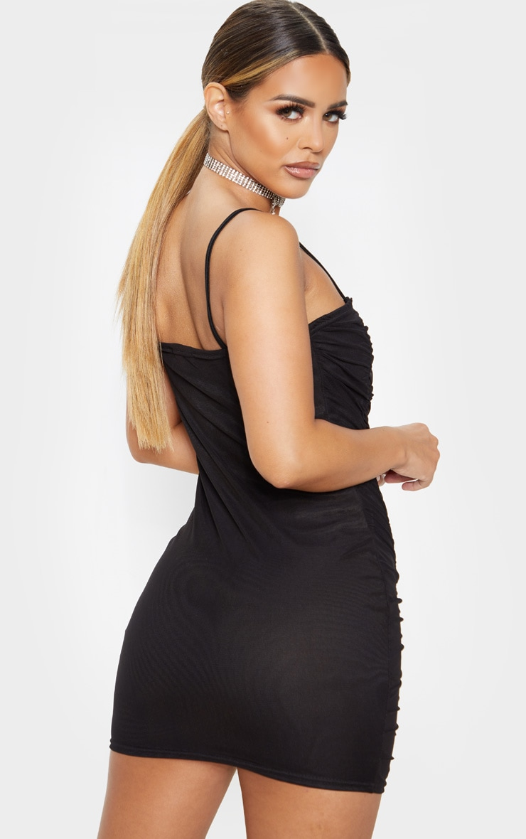 Petite Black Strappy Ruched Front Mini Dress  2