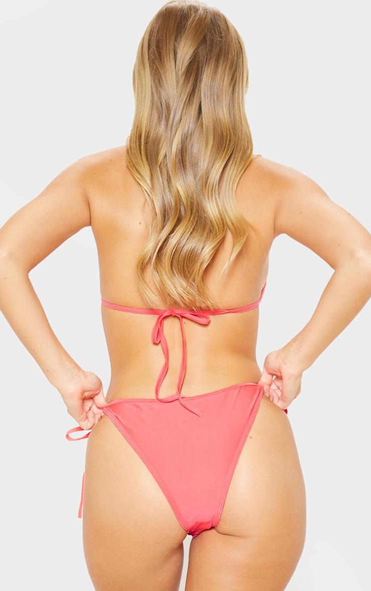 Coral Contrast Binded Tie Side Bikini Bottom 4