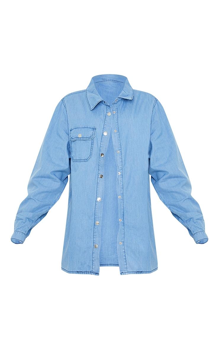 Light Blue Wash Oversized Denim Shirt 5