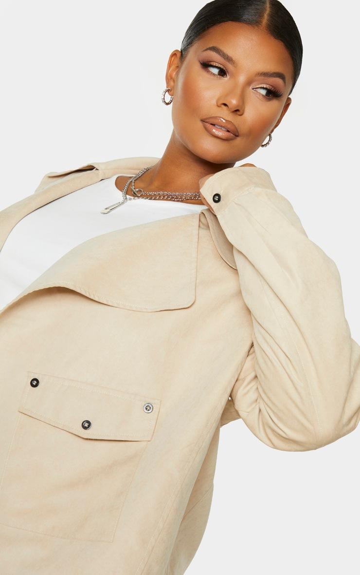 Plus Cream Faux Suede Button Detailed Jacket 5