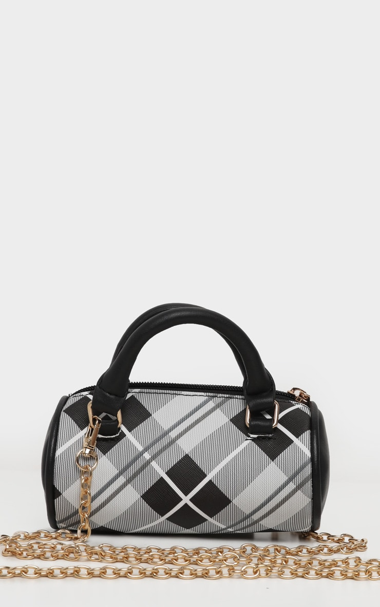 Black Tartan Mini Bowling Bag 3