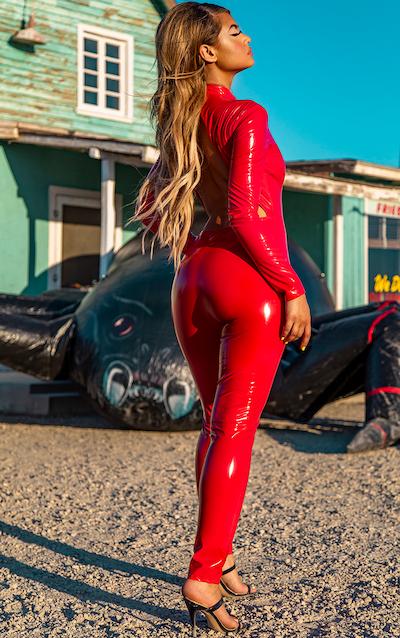 Red Backless Vinyl Long Sleeve Jumpsuit