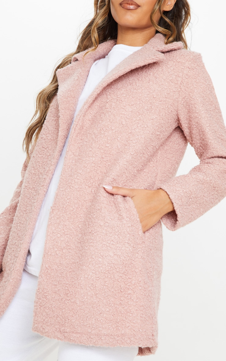 Dusty Pink Textured Oversized Coat 5