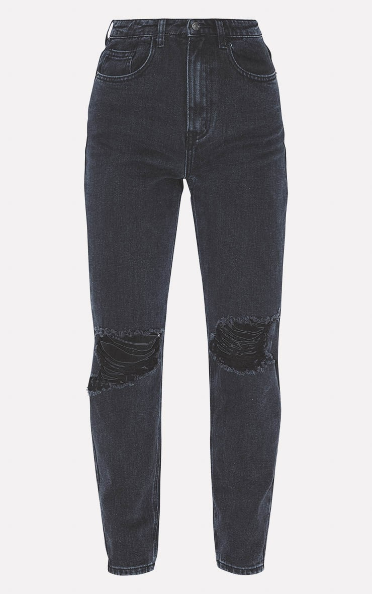 PRETTYLITTLETHING Washed Black Knee Rip Mom Jean 3