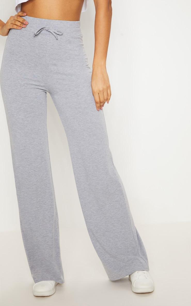 Grey Marl Drawstring Jersey Wide Leg Jogger 2