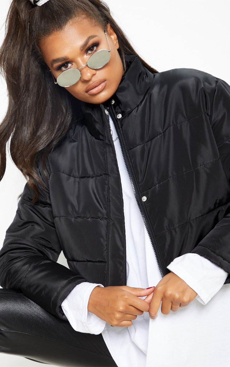 Black Super Cropped Puffer 6