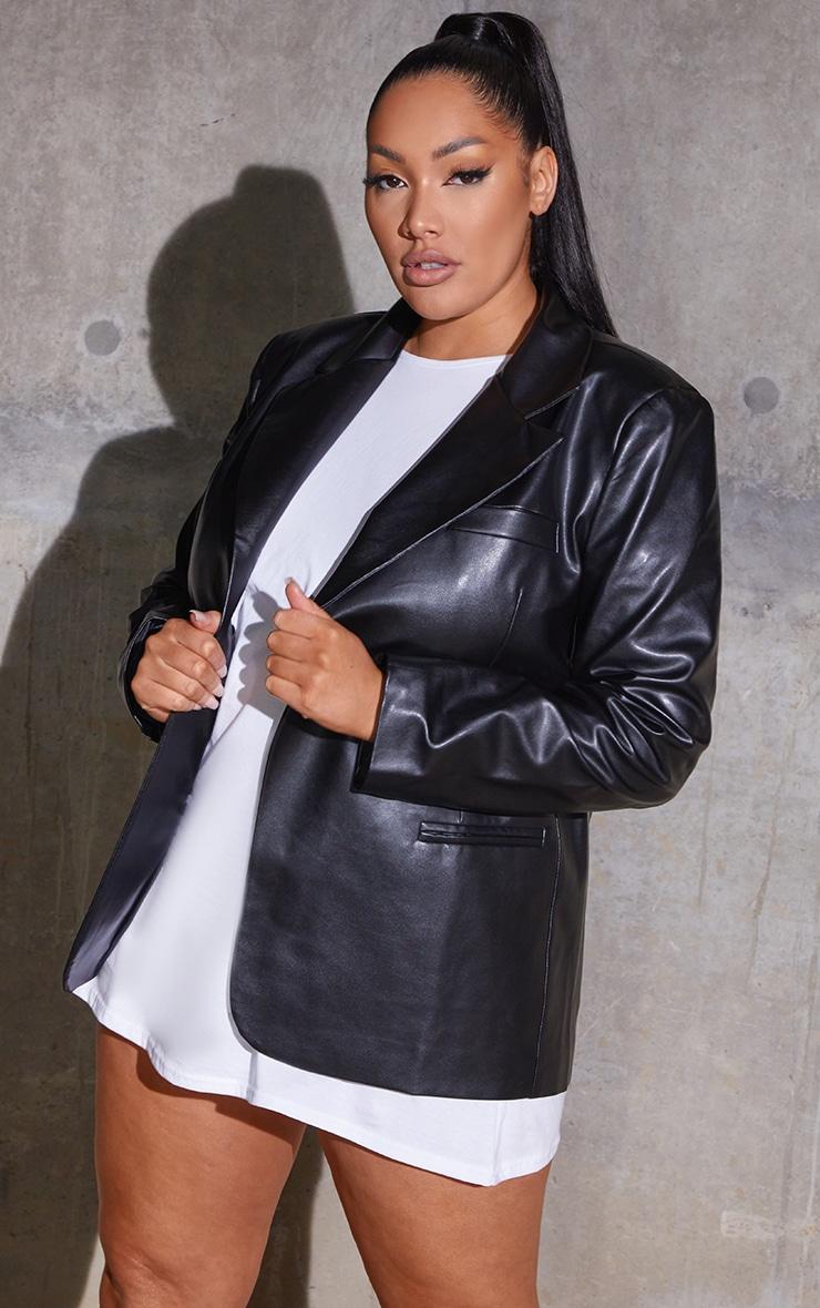 Plus Black Premium Faux Leather Blazer 1