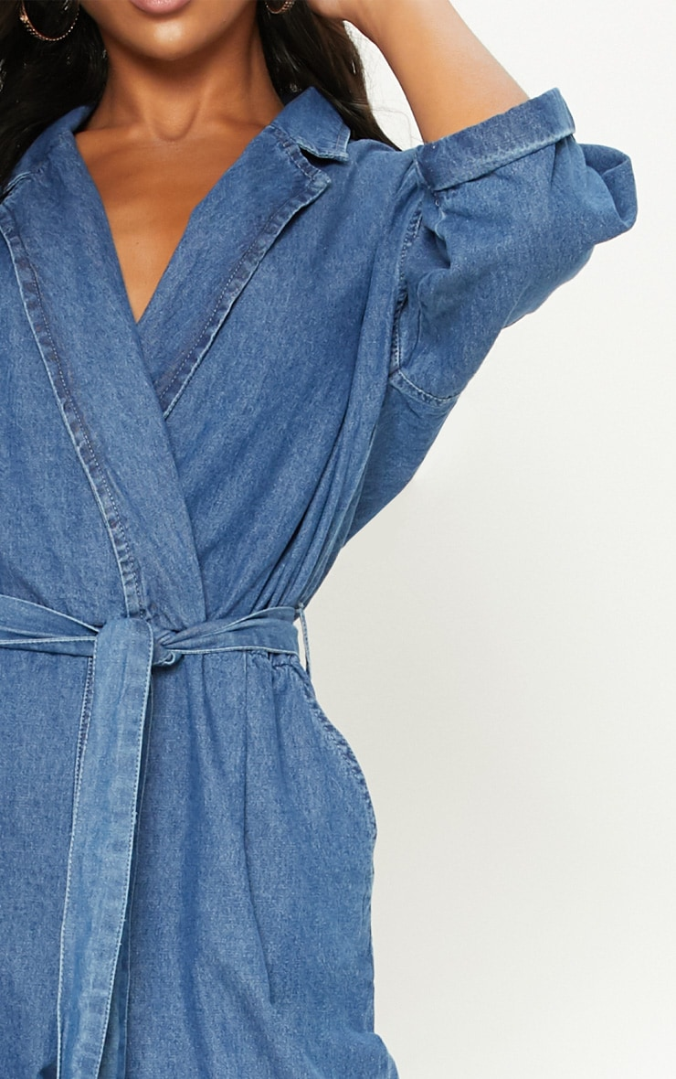 Denim Mid Wash Utility Jumpsuit  5