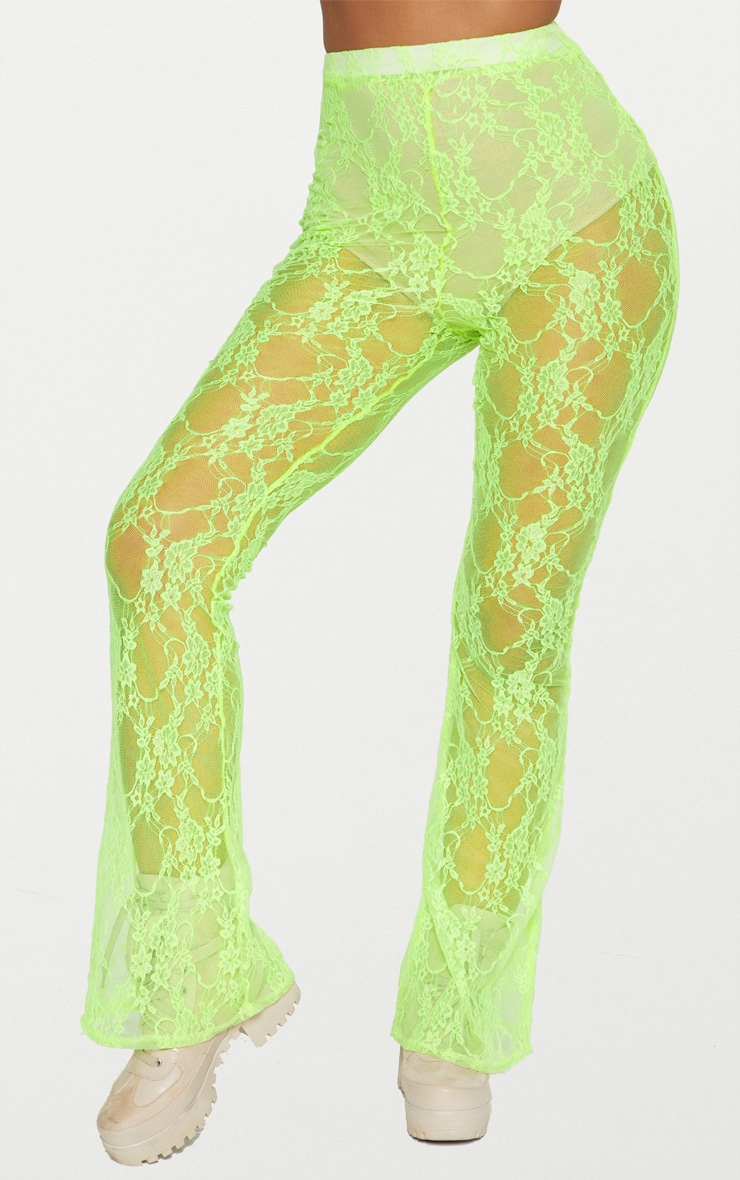 Lime Lace Flared Pants 3