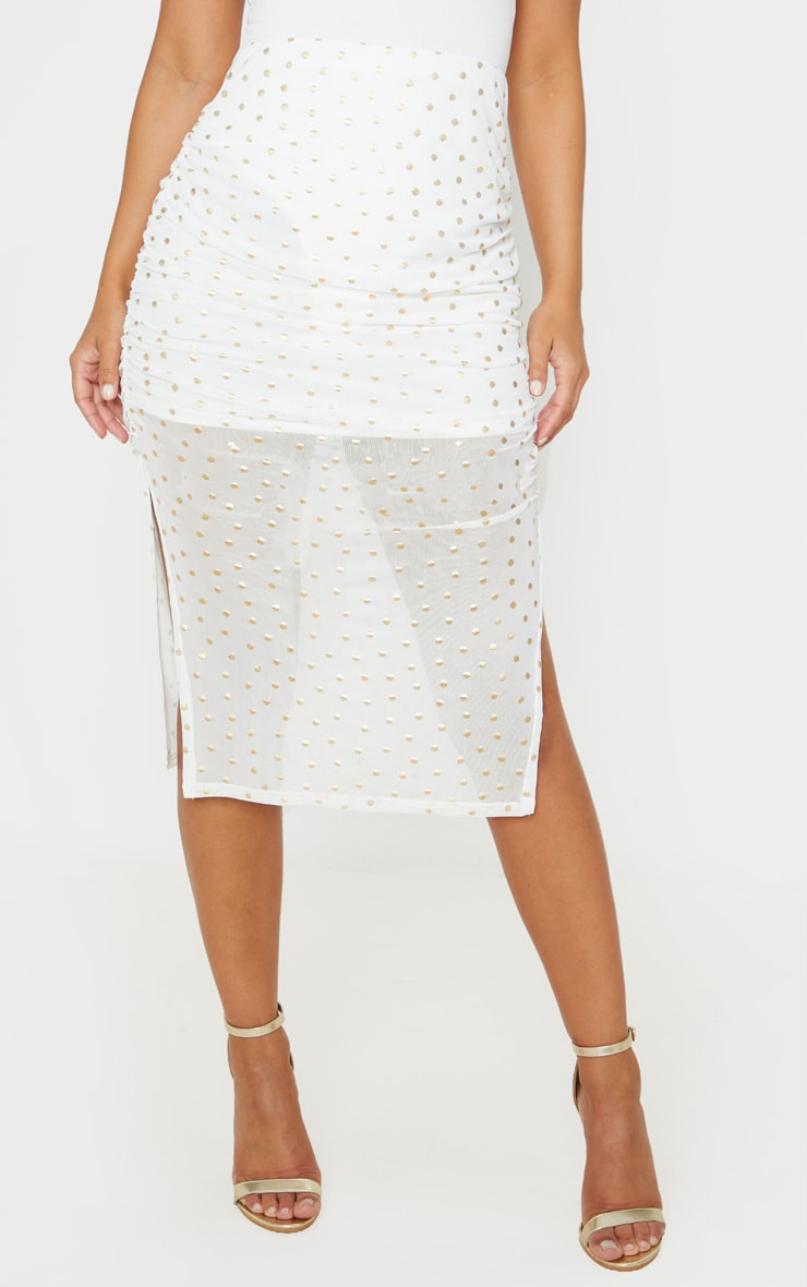 Petite Cream Polka Dot Ruched Side Midi Skirt 2