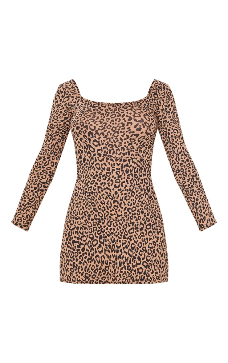Brown Leopard Print Long Sleeve Square Neck Shift Dress  3