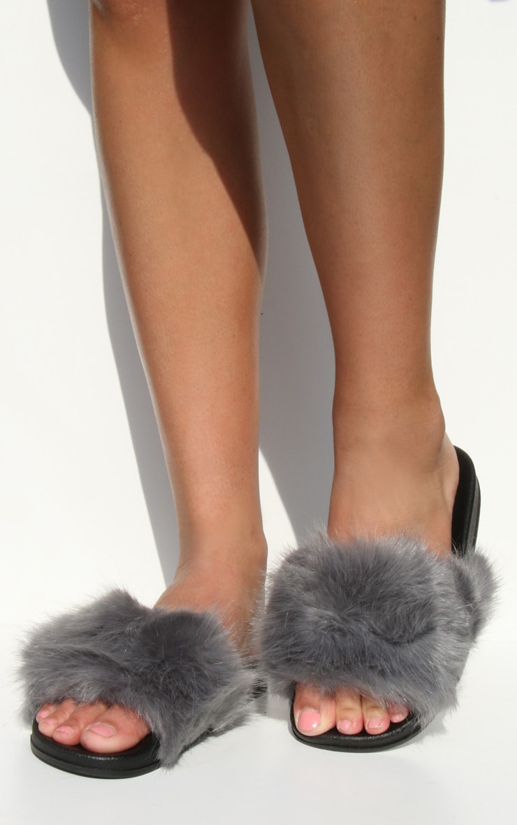 Grey Faux Fur Strap Sliders 1
