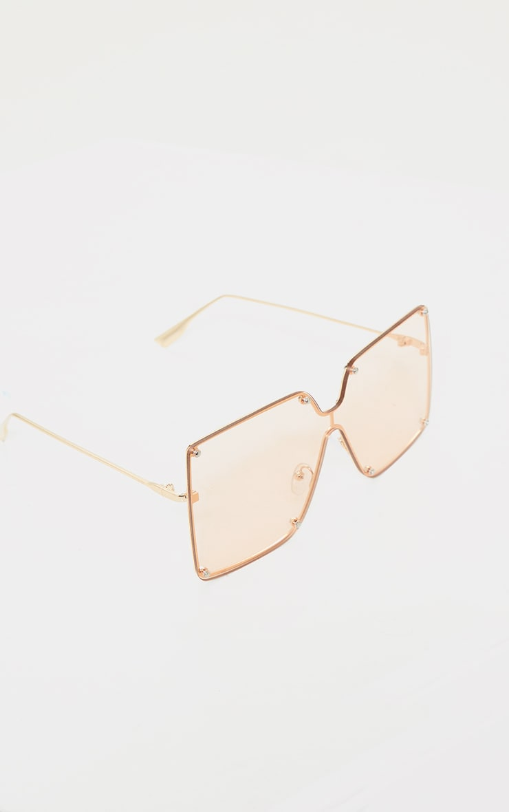 Peach Effect Oversized Square Frameless Sunglasses 3