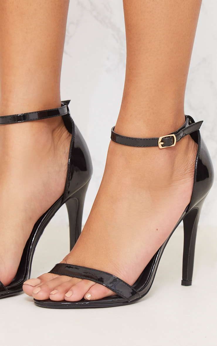 Black Patent Heeled Strappy Sandal 5