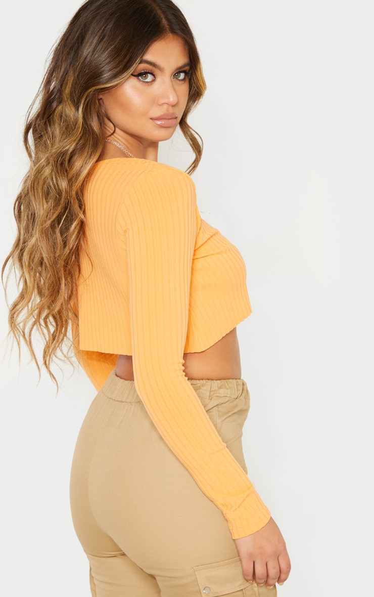 Peach Long Sleeve Rib Raw V Crop Top 2