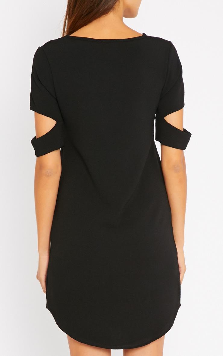 Nina Black Split Sleeve Waffle Shift Dress 2