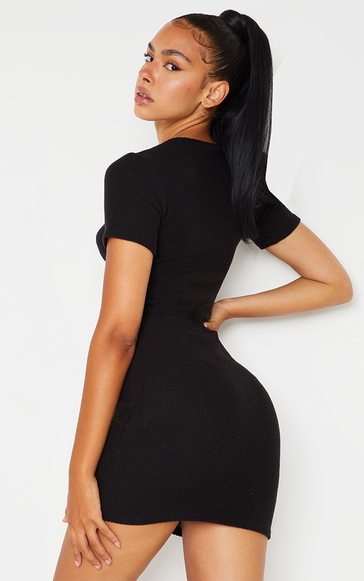 Black Brushed Rib Short Sleeve Button Front Bodycon Dress 2