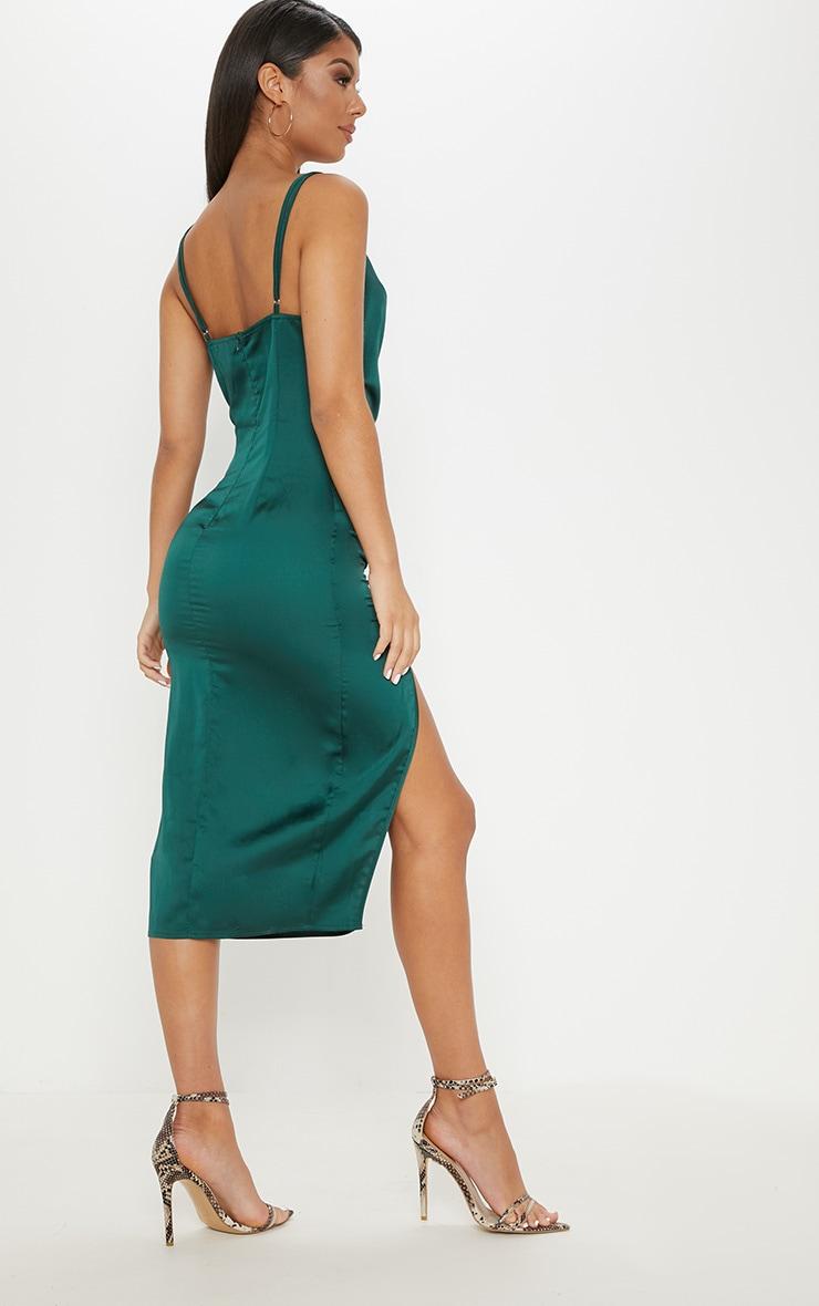 Emerald Green Strappy Satin Cowl Midi Dress 2