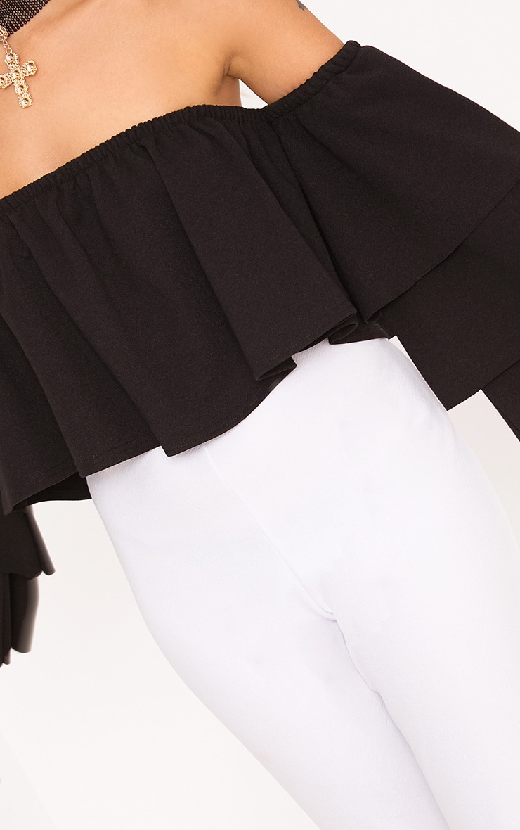 Black Bardot Layered Frill Sleeve Crop Top 5