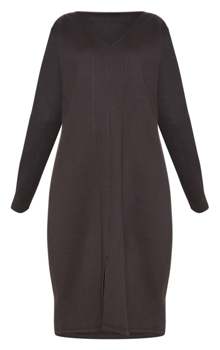 Black Oversized V Neck Split Front Sweat Midi Dress 3
