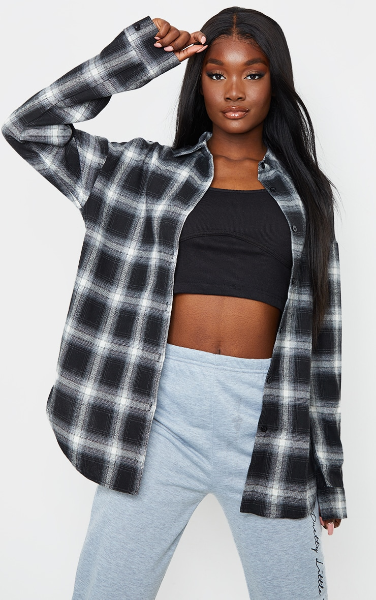 Tall Black Checked Oversized Shirt 1