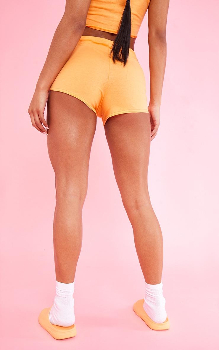 PRETTYLITTLETHING Orange Cotton Seam Detail Hot Pants 3