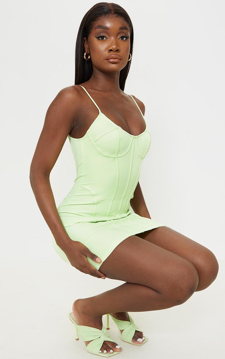 Tall - Robe moulante vert citron à dos nu détail corset 3