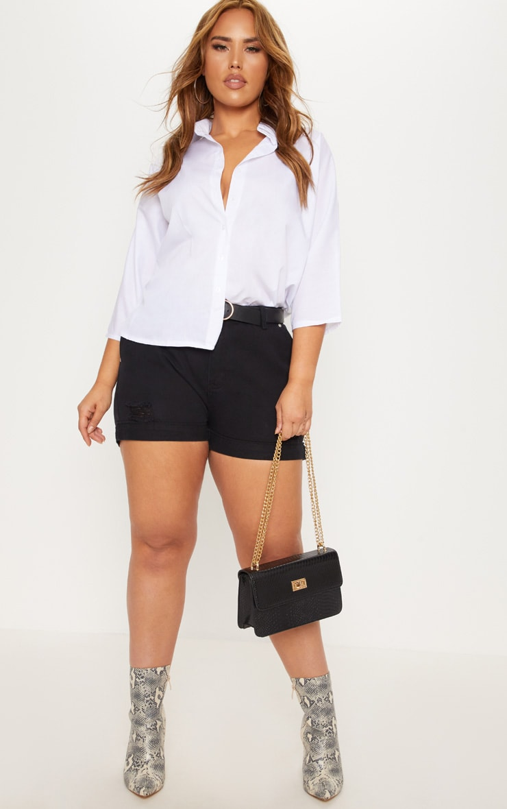 Plus Black Turn Up Hem Denim Shorts 5