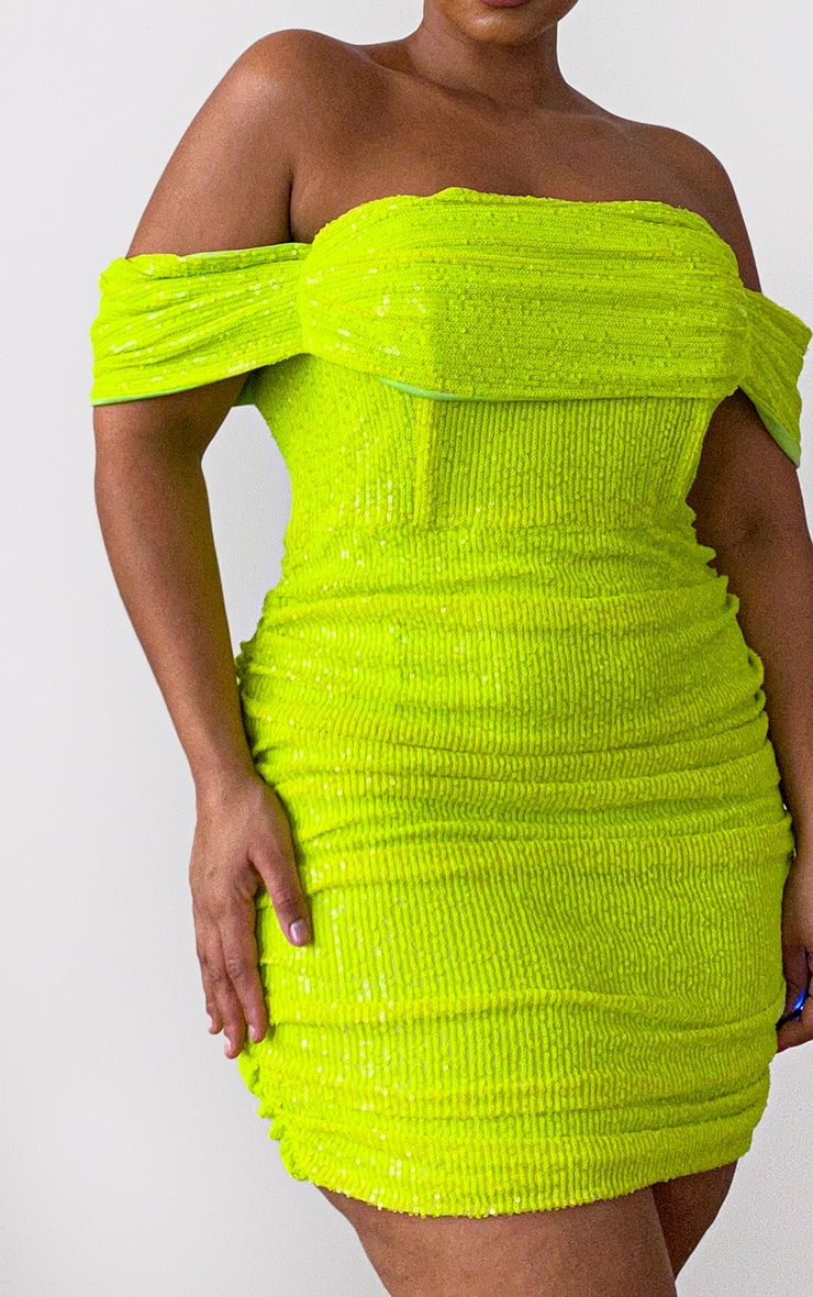 Plus Lime Sequin Bardot Bodycon Dress 4