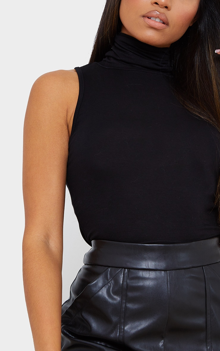 Petite Black Jersey Cropped Roll Neck Top 4