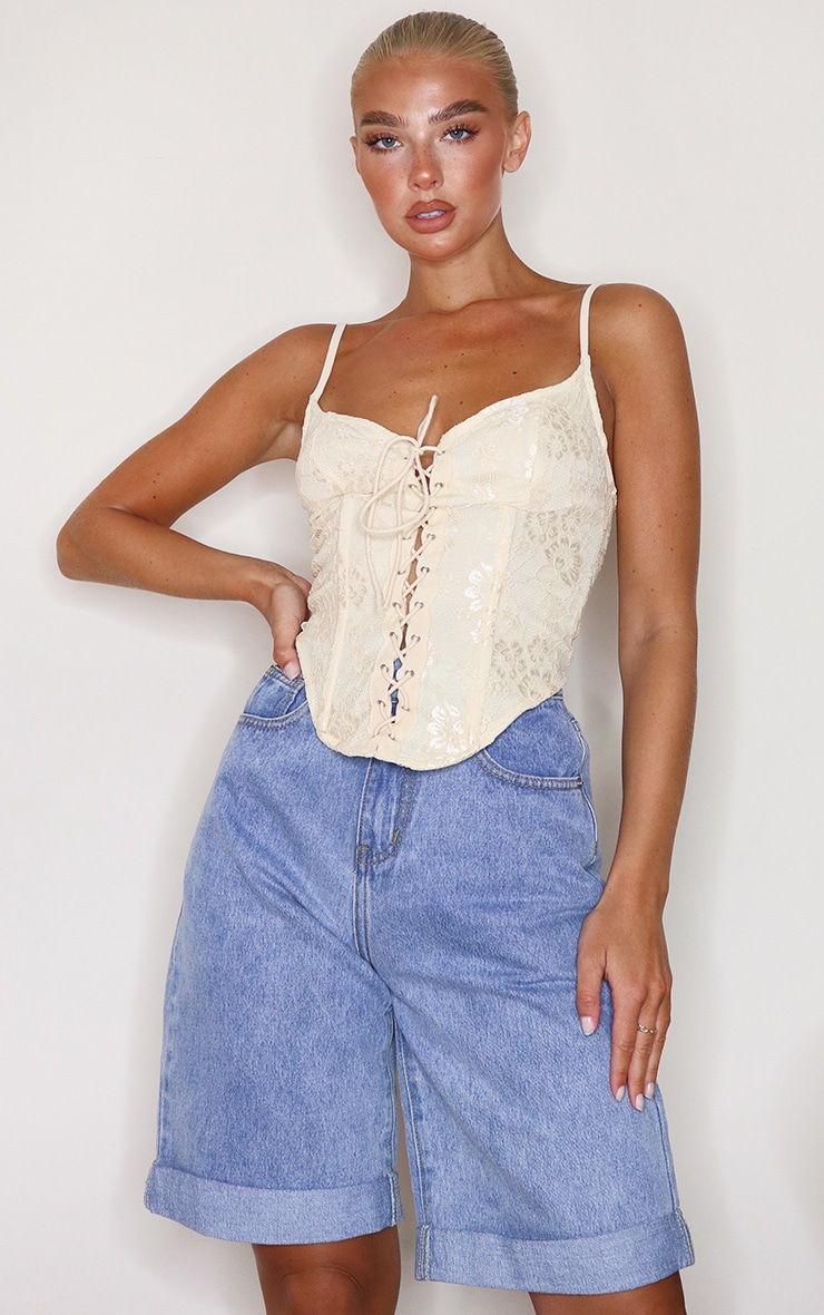 Cream Lace Tie Front Curved Hem Cropped Corset
