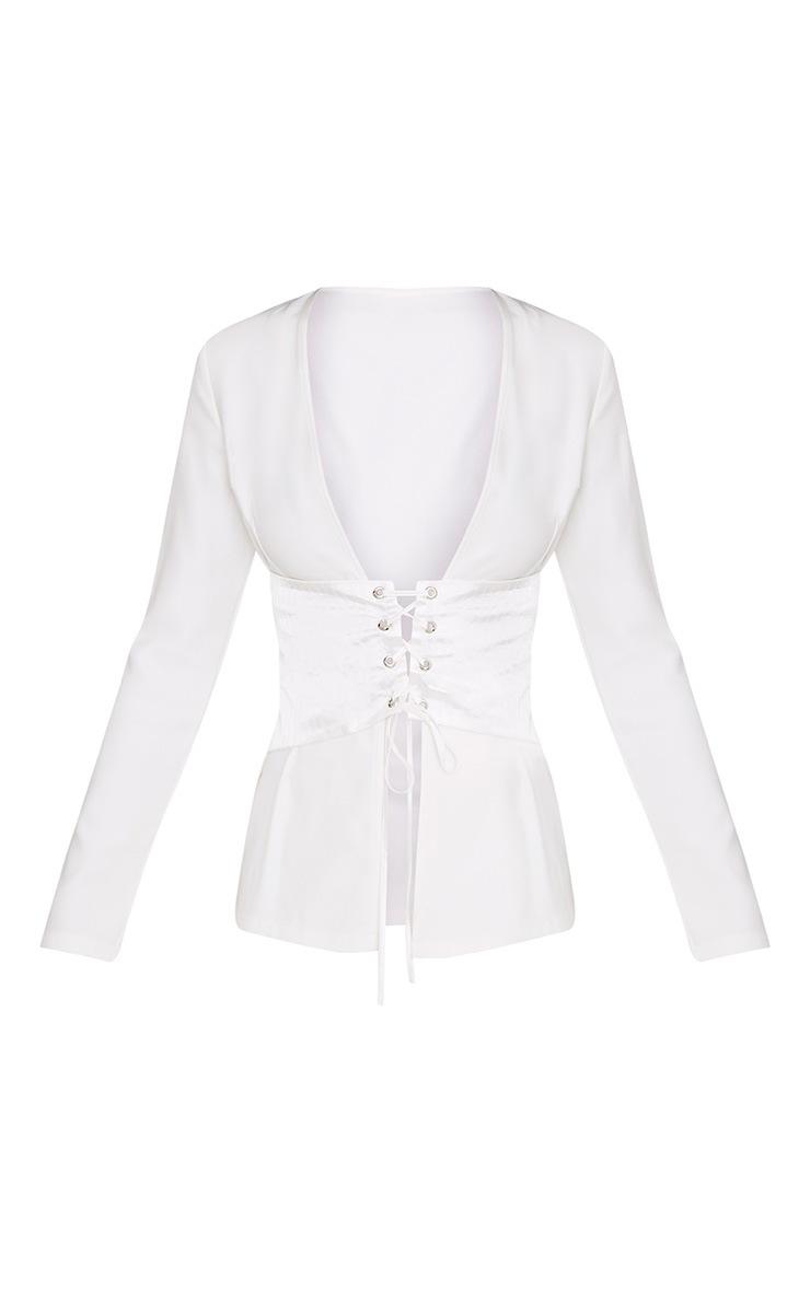 Rayla White Corset Detail Suit Jacket 4