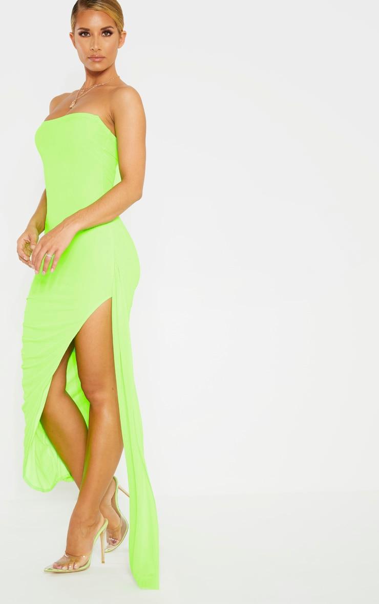 Neon Lime Mesh Bandeau Drape Detail Split Midi Dress 4