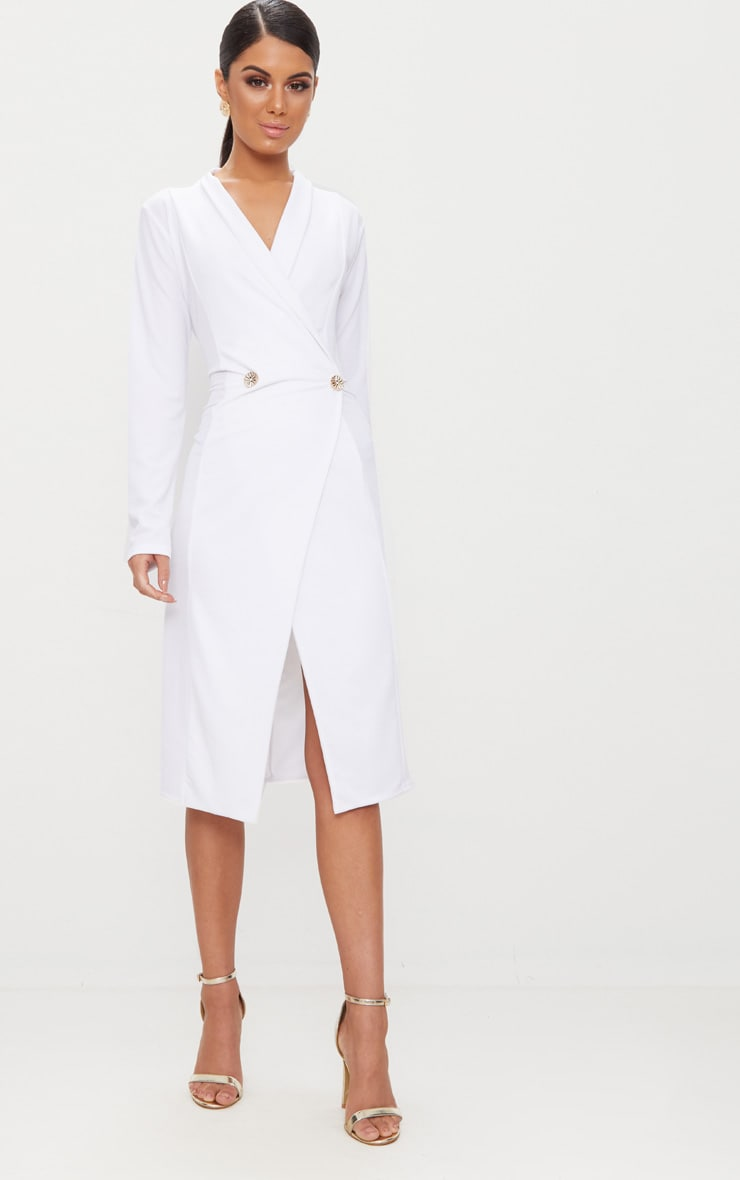 White Button Detail Blazer Midi Dress 1