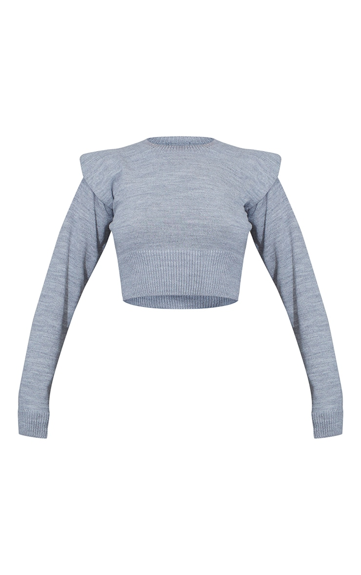 Grey Shoulder Pad Deep Hem Cropped Jumper 5