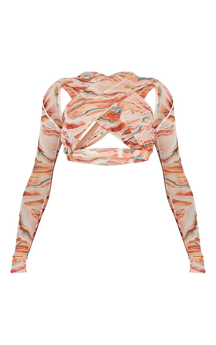 Orange Abstract Printed Mesh Underbust Cross Front Long Sleeve Crop Top 5