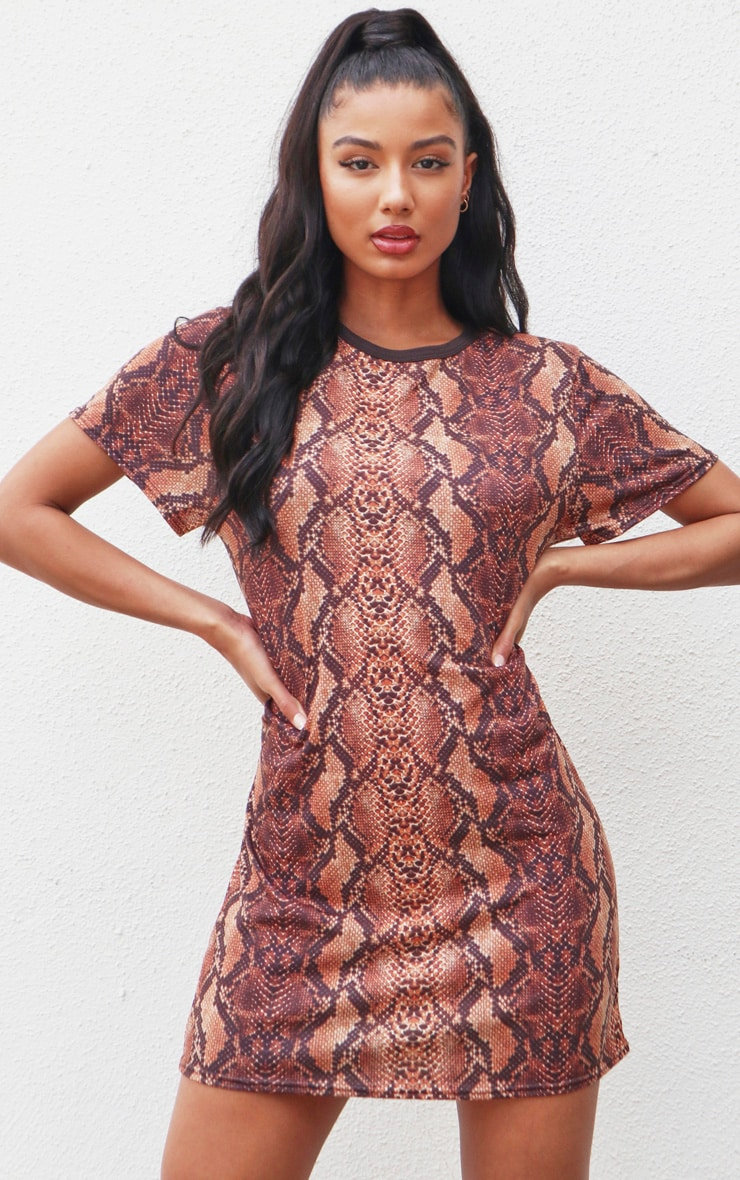 Brown Snake Print T-Shirt Dress image 1
