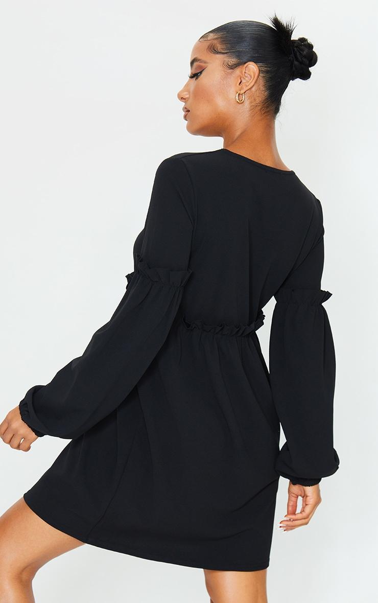 Black Frill Detail Long Sleeve Smock Dress 2