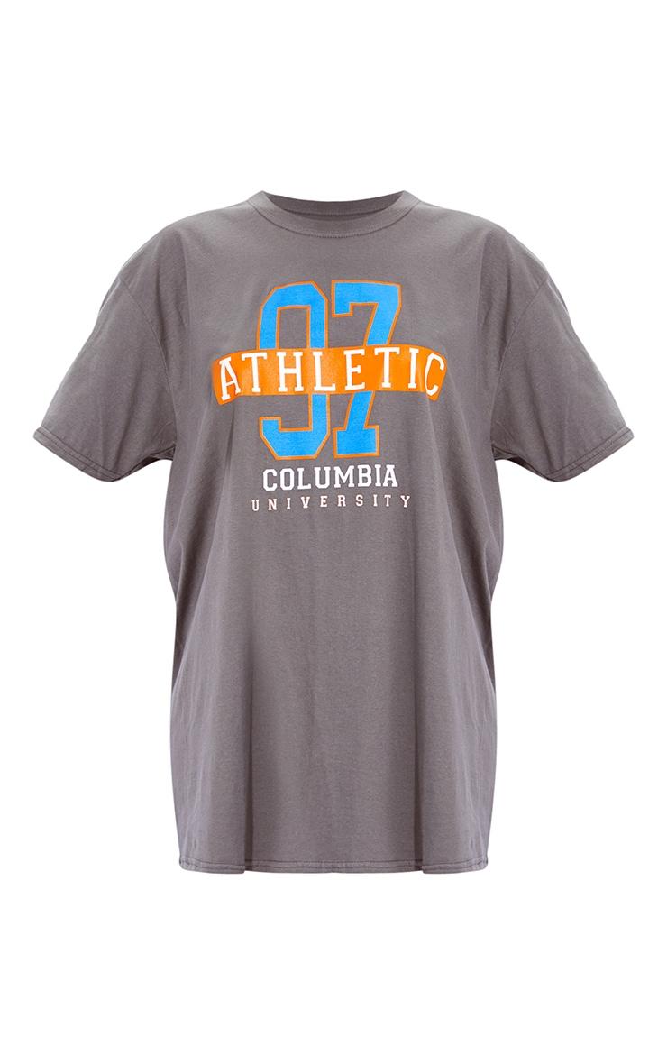 Lot de 2 robes tee-shirt à slogan & unie - Gris anthracite et orange 7