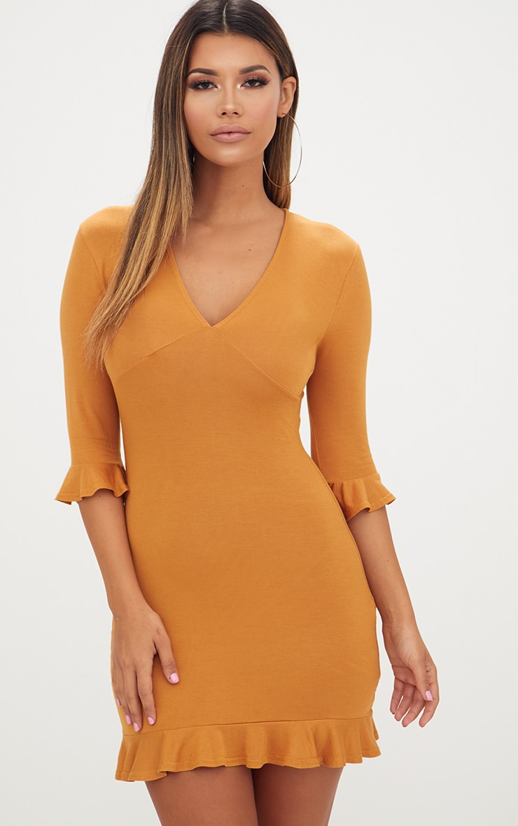 Mustard Frill Hem Shift Dress 1