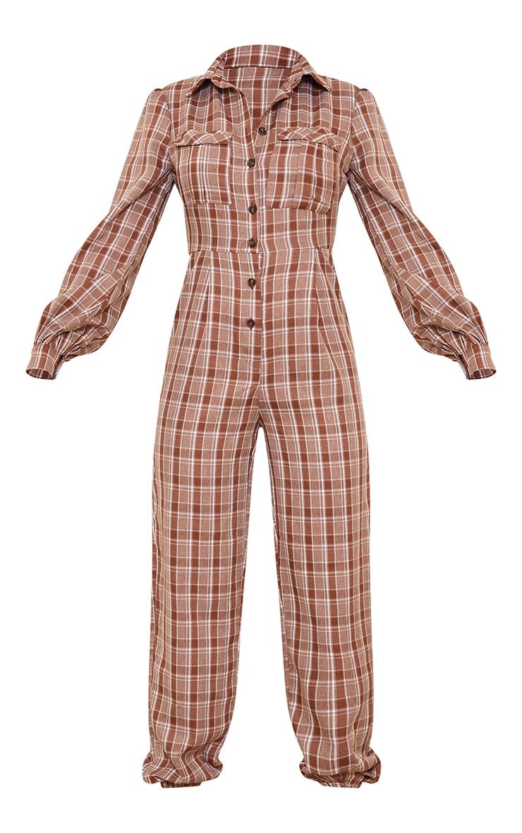 Brown Check Pocket Detail Shirt Jumpsuit 5