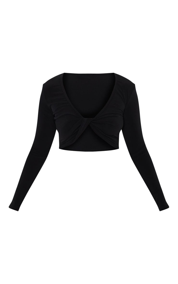 Petite Black Slinky Twist Long Sleeve Crop Top 3