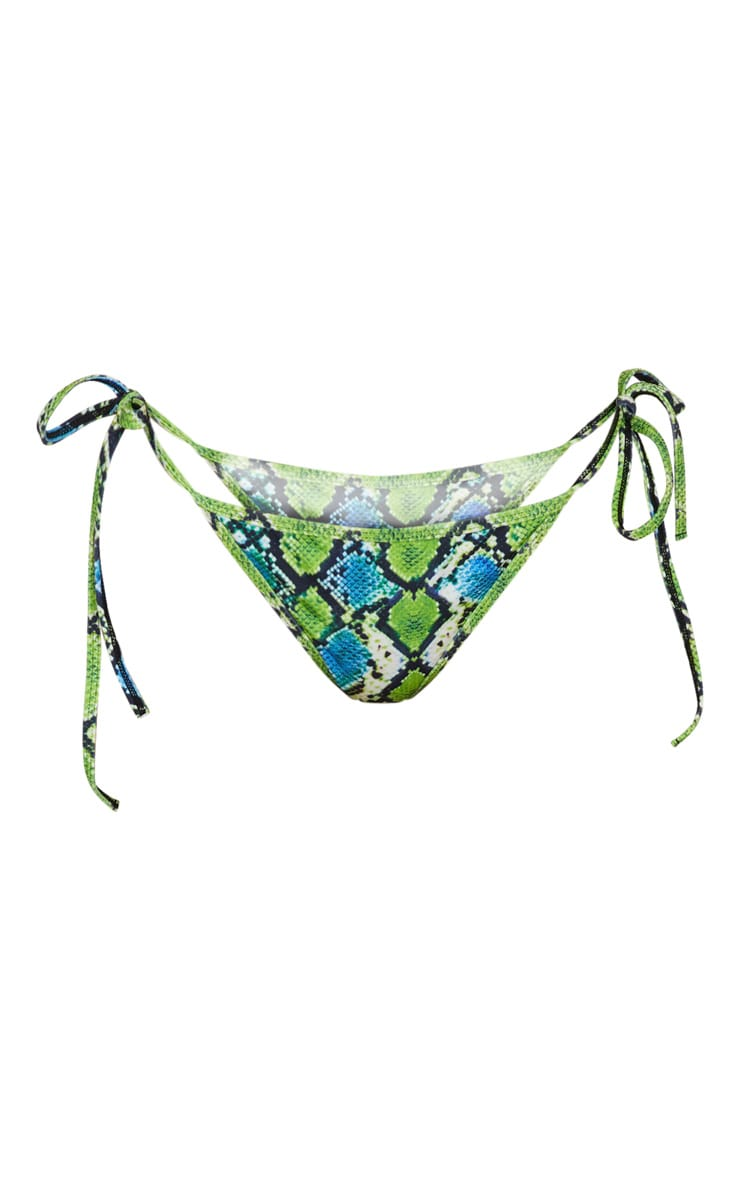 Green Snake Print Tie Side Bikini Bottom 3