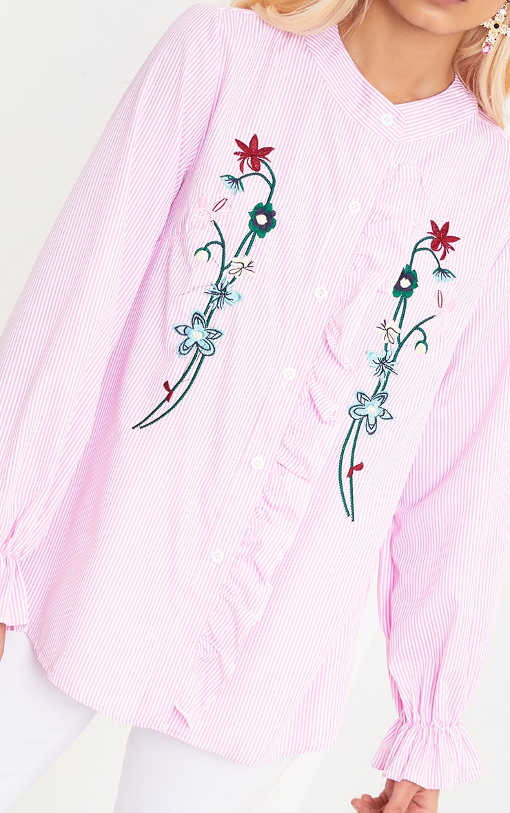Linette Pink Embroidered Stripe Shirt 5