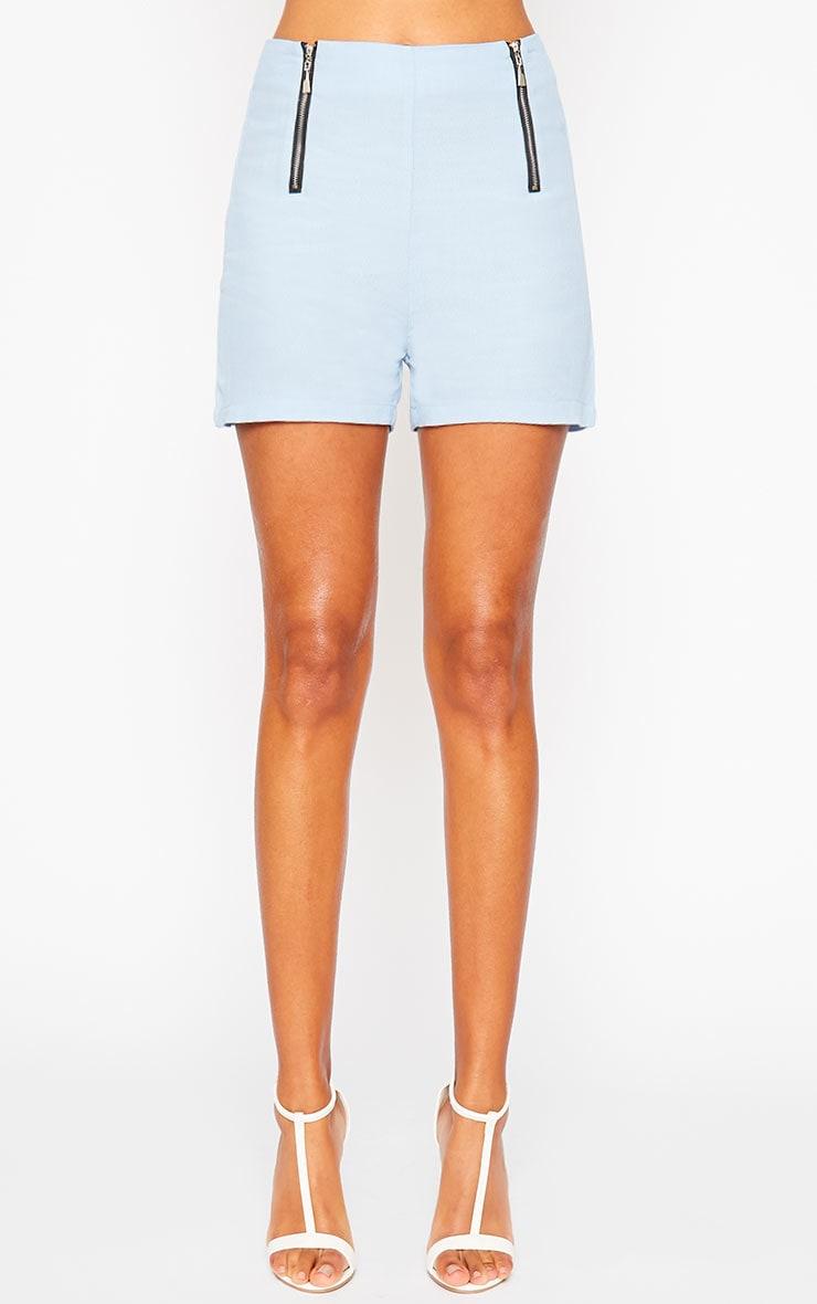 Mikkel Blue Zip Front Shorts 4